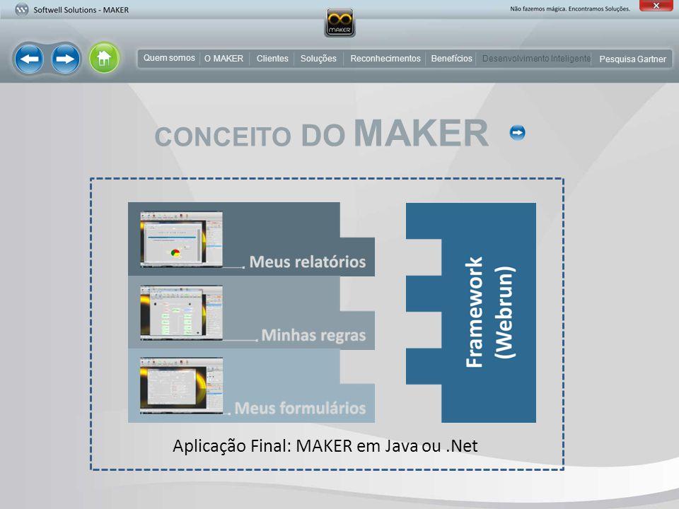 CONCEITO DO MAKER Aplicação Final: MAKER em Java ou .Net