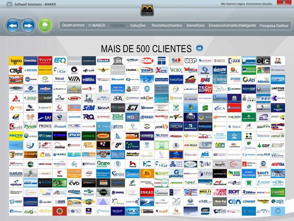 MAIS DE 500 CLIENTES Clientes Quem somos O MAKER Clientes Soluções