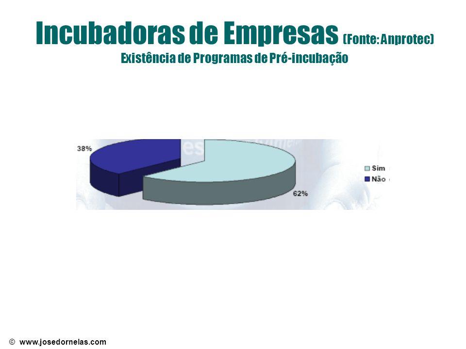 Incubadoras de Empresas (Fonte: Anprotec) Existência de Programas de Pré-incubação