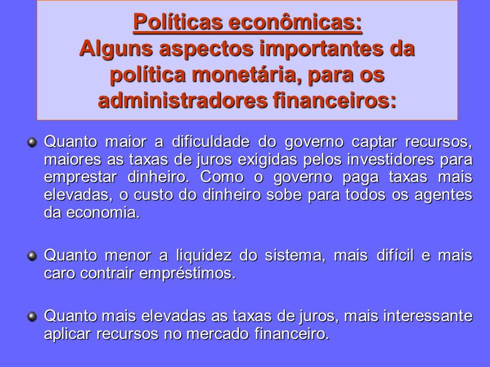 Políticas econômicas: Alguns aspectos importantes da política monetária, para os administradores financeiros: