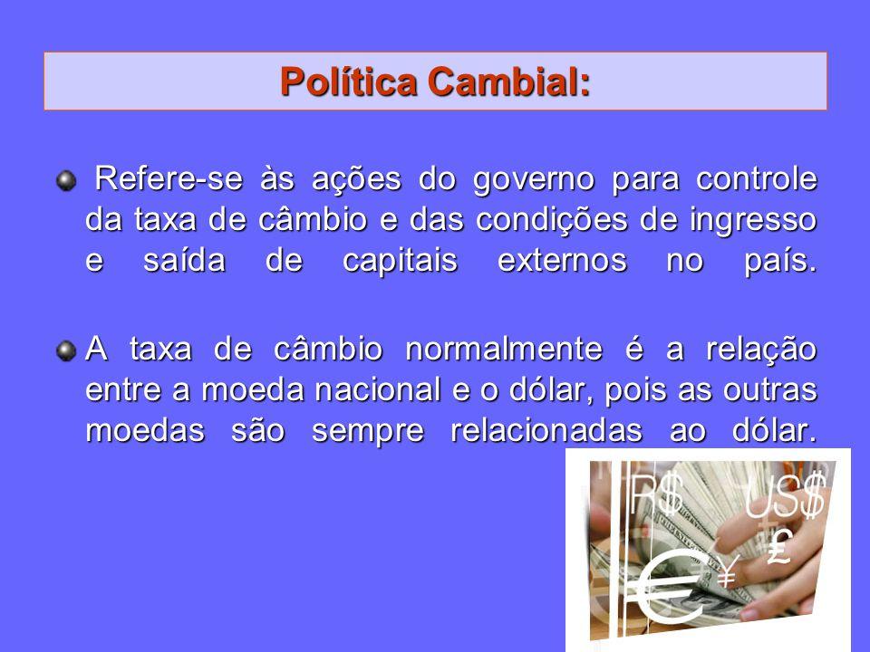 Política Cambial: Refere-se às ações do governo para controle da taxa de câmbio e das condições de ingresso e saída de capitais externos no país.