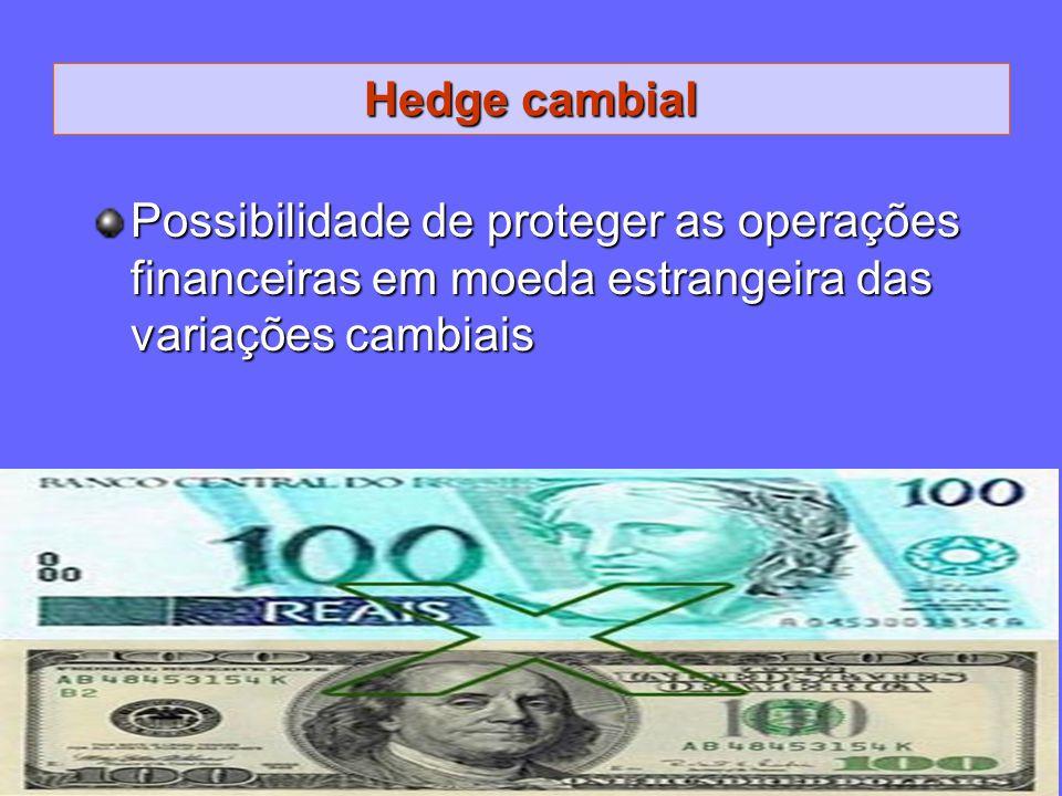 Hedge cambial Possibilidade de proteger as operações financeiras em moeda estrangeira das variações cambiais.