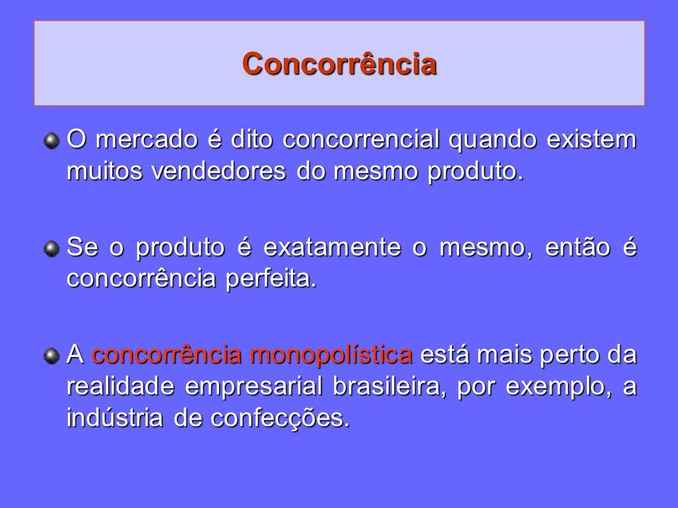Concorrência O mercado é dito concorrencial quando existem muitos vendedores do mesmo produto.