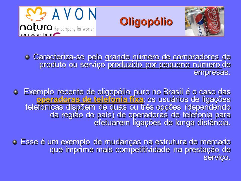 Oligopólio Caracteriza-se pelo grande número de compradores de produto ou serviço produzido por pequeno número de empresas.