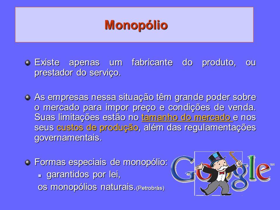 Monopólio Existe apenas um fabricante do produto, ou prestador do serviço.