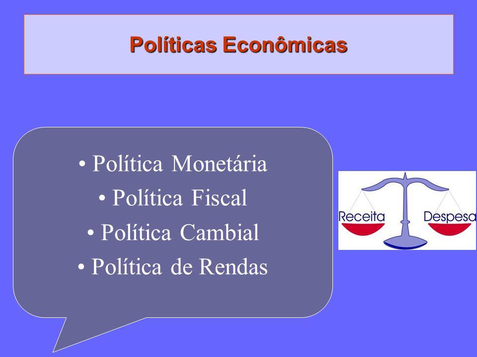 Política Monetária Política Fiscal Política Cambial Política de Rendas