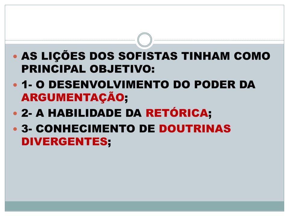 AS LIÇÕES DOS SOFISTAS TINHAM COMO PRINCIPAL OBJETIVO: