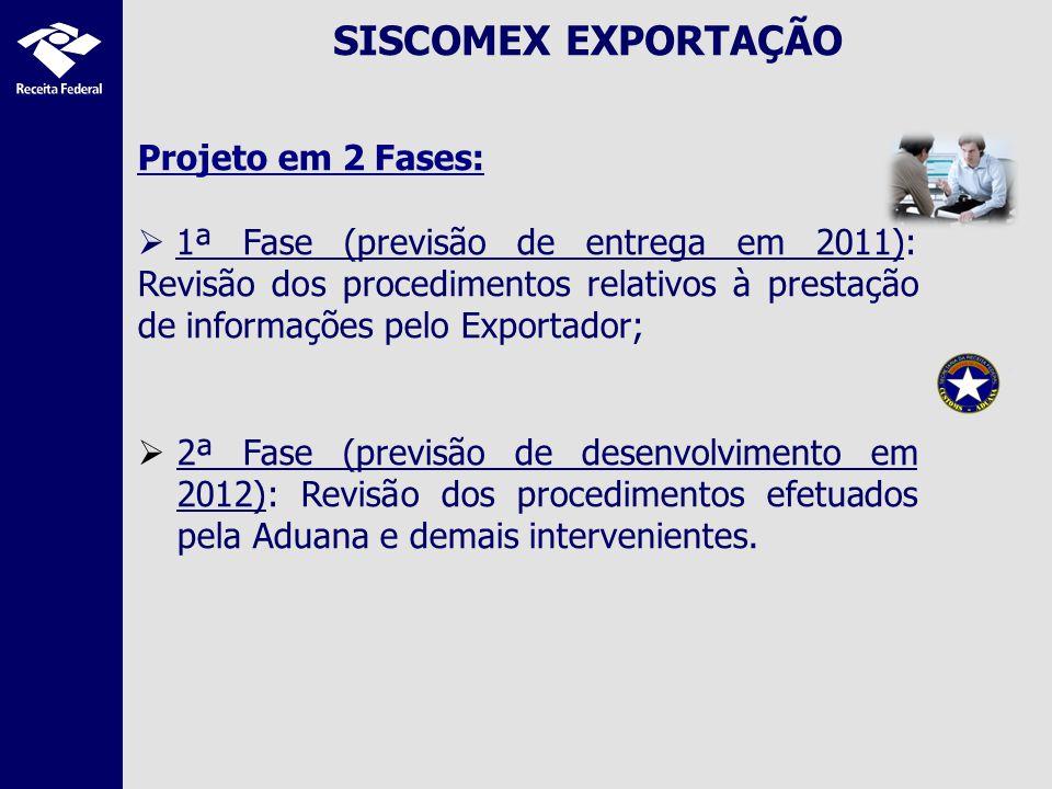 SISCOMEX EXPORTAÇÃO Projeto em 2 Fases: