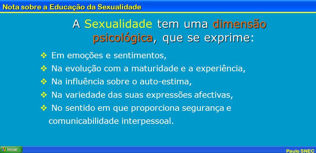 A Sexualidade tem uma dimensão psicológica, que se exprime: