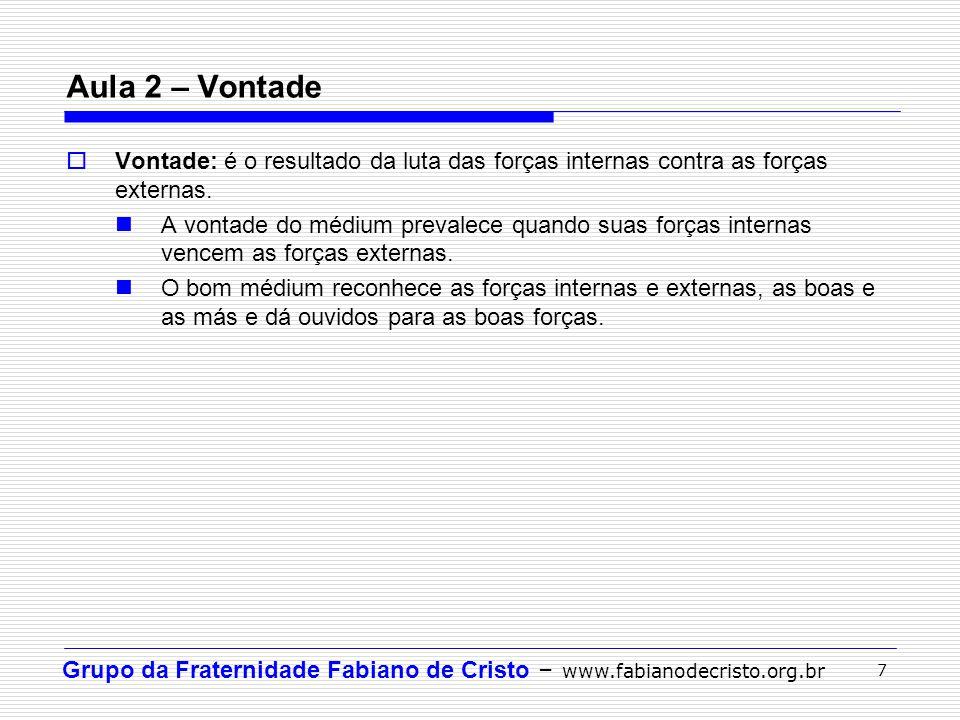 Aula 2 – Vontade Vontade: é o resultado da luta das forças internas contra as forças externas.