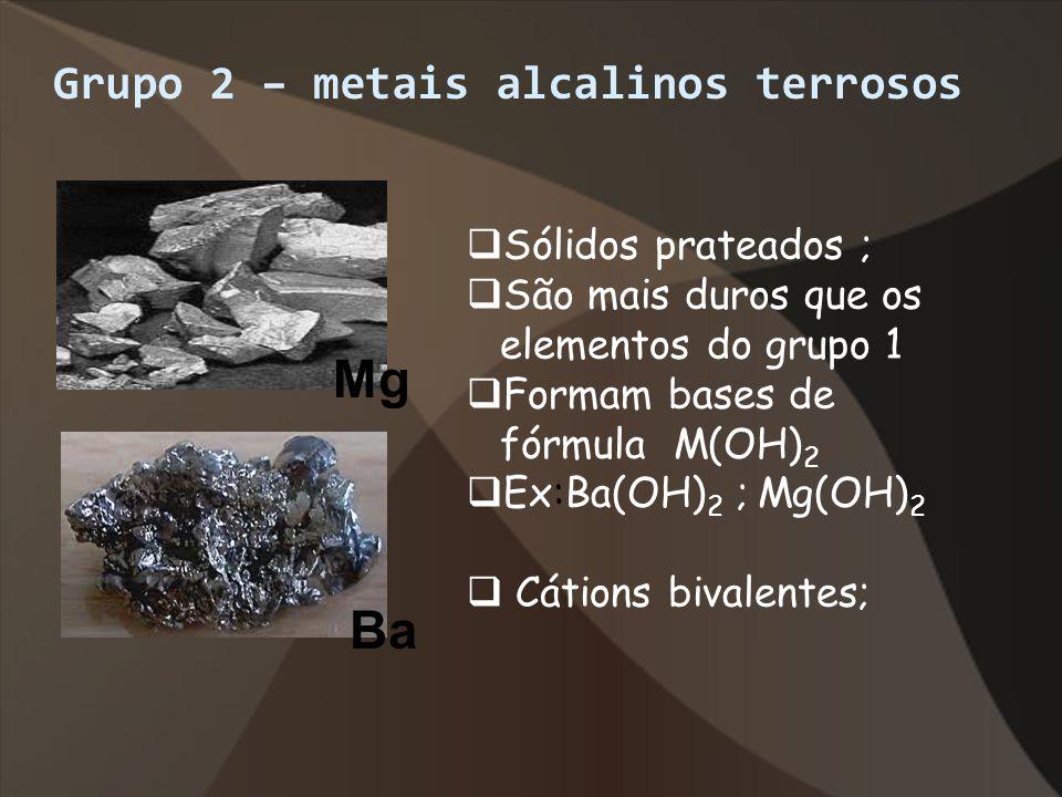 Grupo 2 – metais alcalinos terrosos