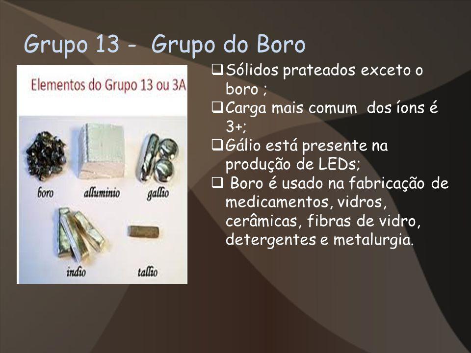 Grupo 13 - Grupo do Boro Sólidos prateados exceto o boro ;