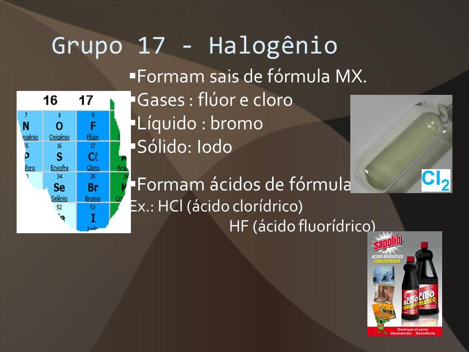 Grupo 17 - Halogênio Formam sais de fórmula MX. Gases : flúor e cloro