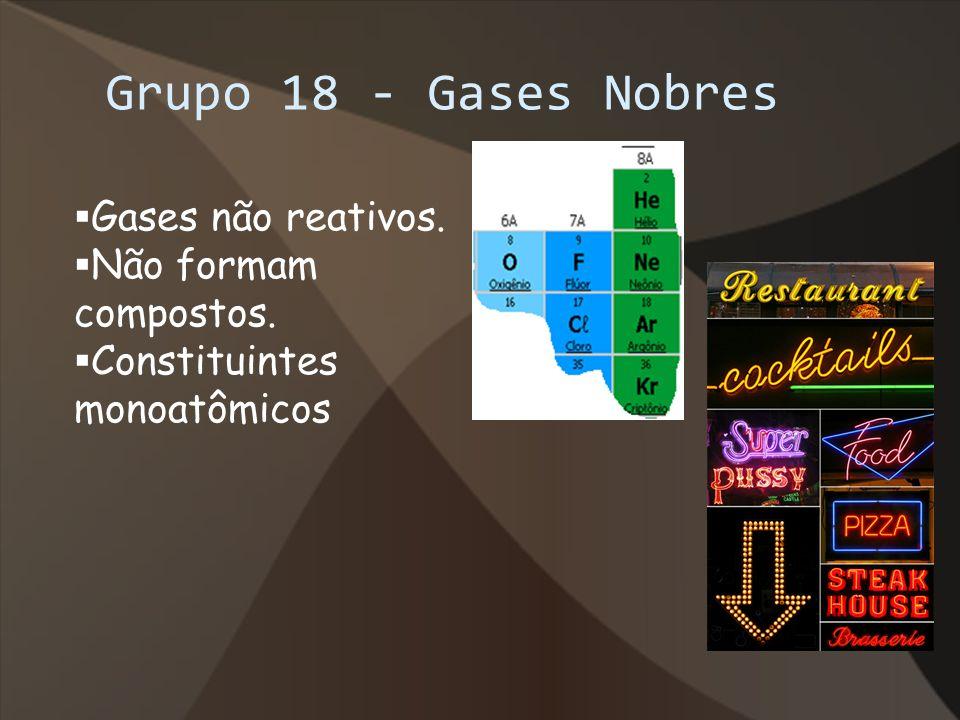 Grupo 18 - Gases Nobres Gases não reativos. Não formam compostos.