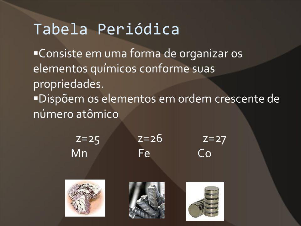 Tabela Periódica Consiste em uma forma de organizar os elementos químicos conforme suas propriedades.