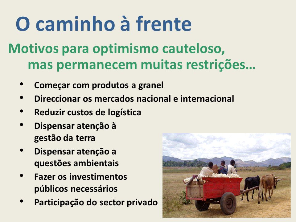 O caminho à frente Motivos para optimismo cauteloso, mas permanecem muitas restrições… Começar com produtos a granel.