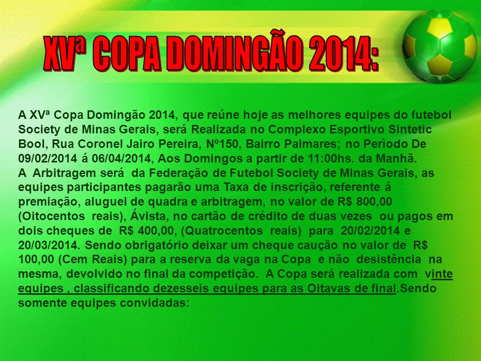XVª COPA DOMINGÃO 2014: