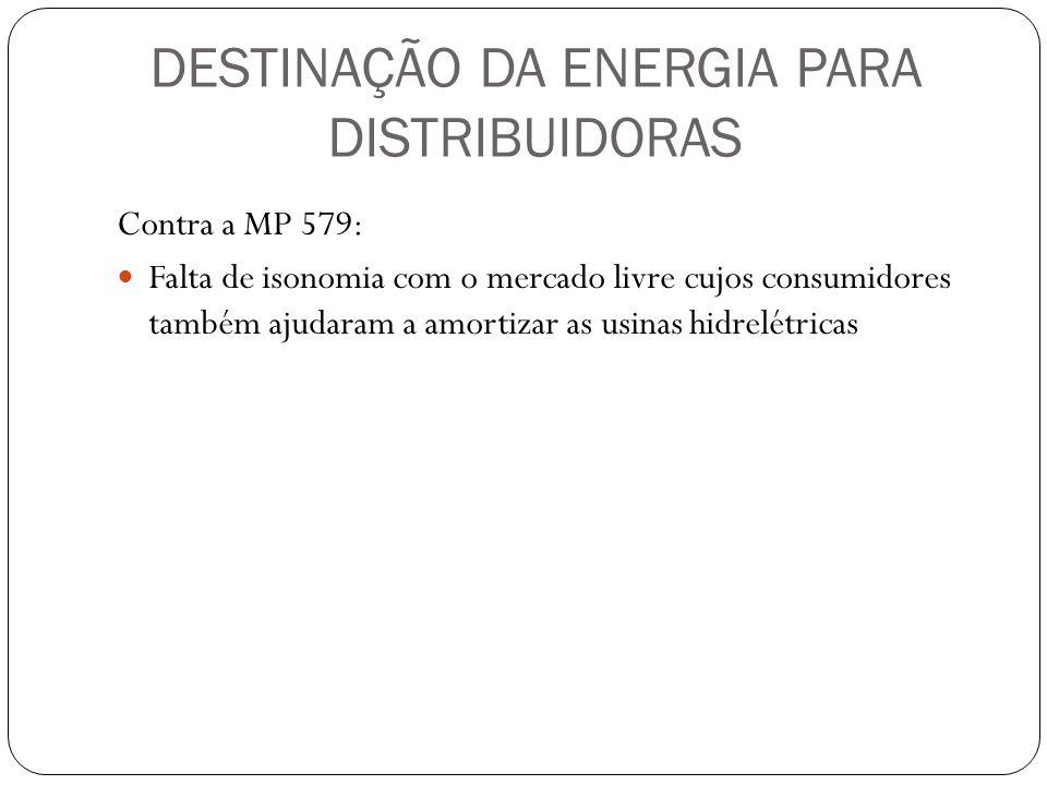 DESTINAÇÃO DA ENERGIA PARA DISTRIBUIDORAS