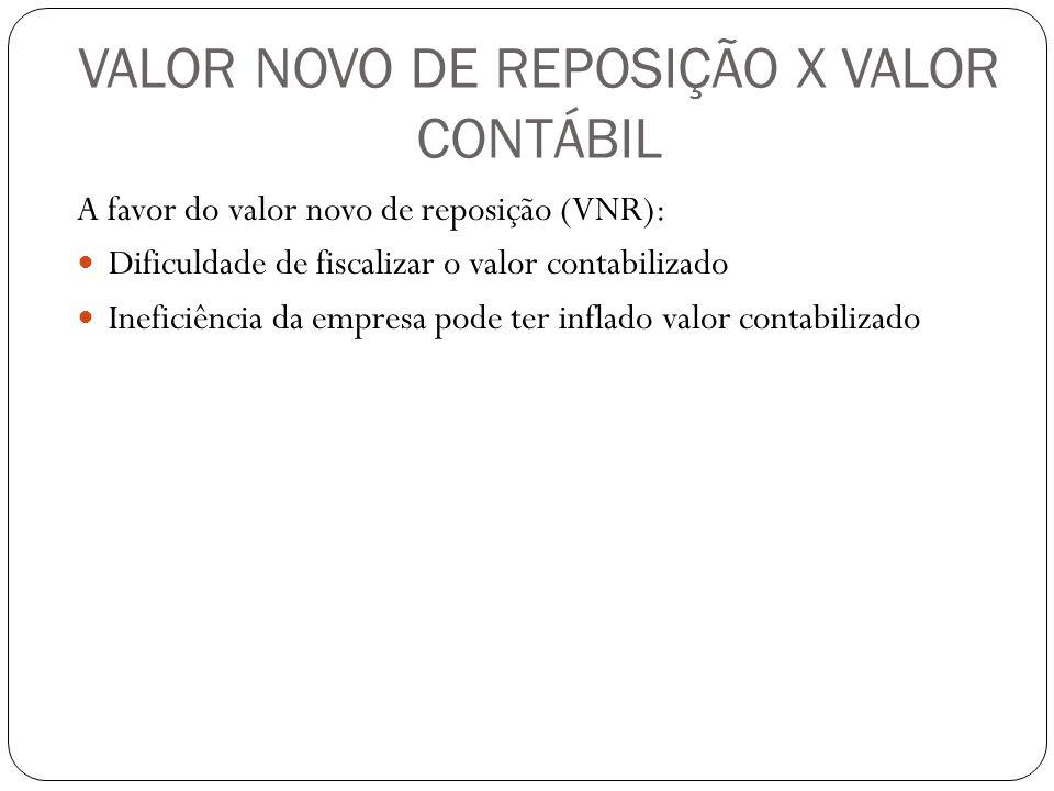 VALOR NOVO DE REPOSIÇÃO X VALOR CONTÁBIL