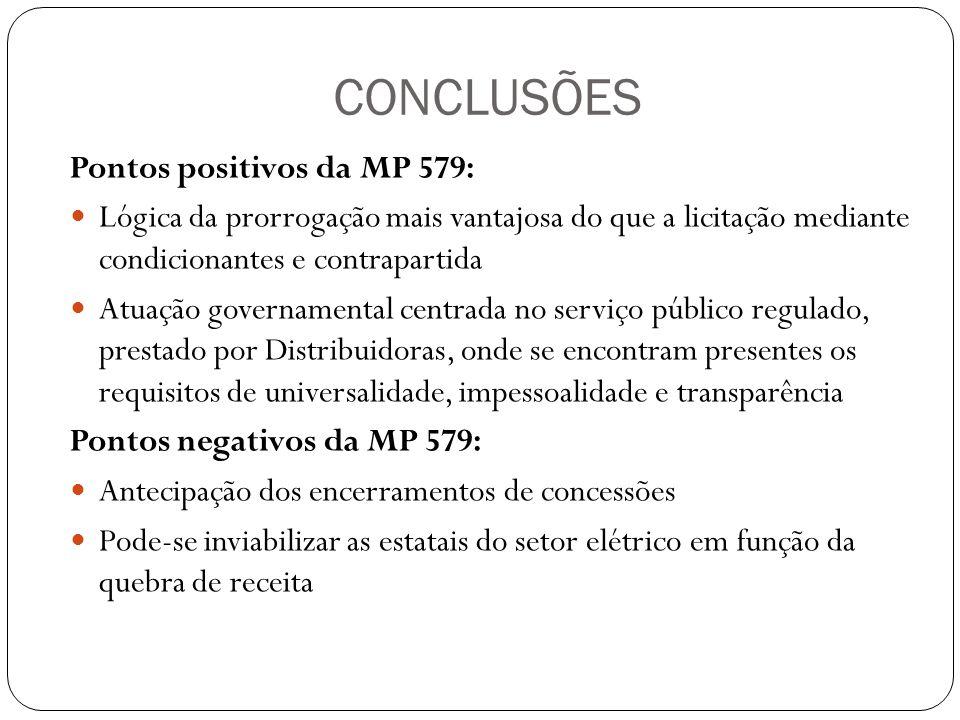 CONCLUSÕES Pontos positivos da MP 579: