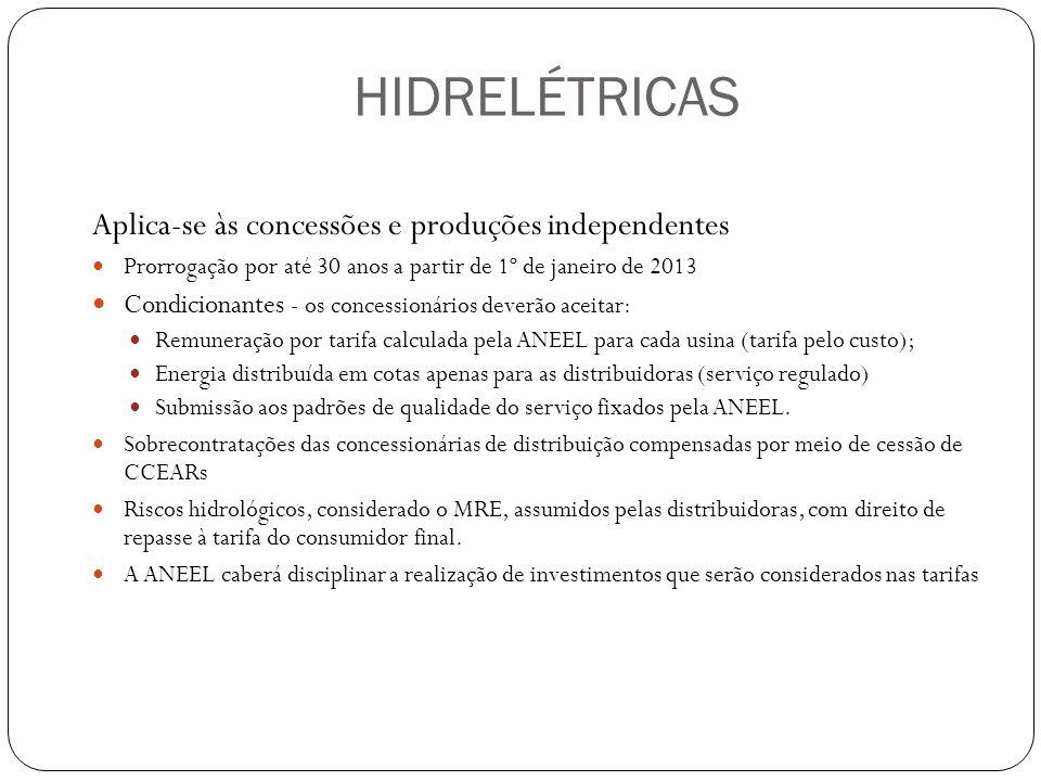 HIDRELÉTRICAS Aplica-se às concessões e produções independentes