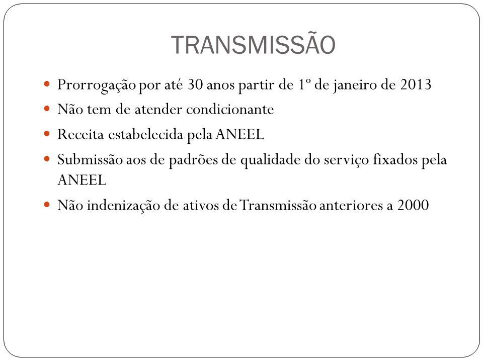 TRANSMISSÃO Prorrogação por até 30 anos partir de 1º de janeiro de 2013. Não tem de atender condicionante.