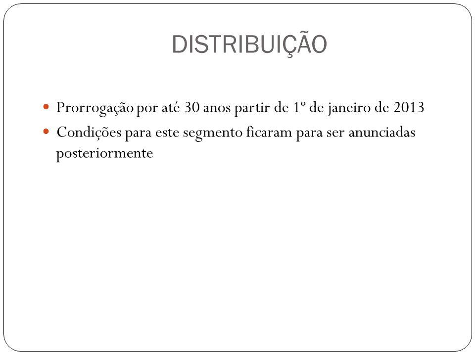 DISTRIBUIÇÃO Prorrogação por até 30 anos partir de 1º de janeiro de 2013.