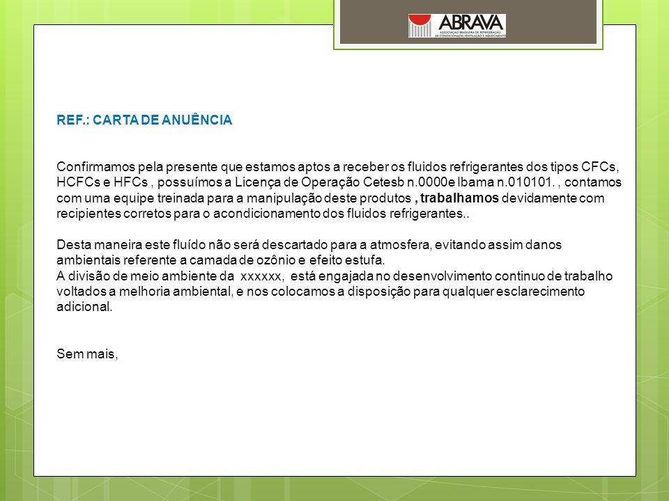 REF.: CARTA DE ANUÊNCIA
