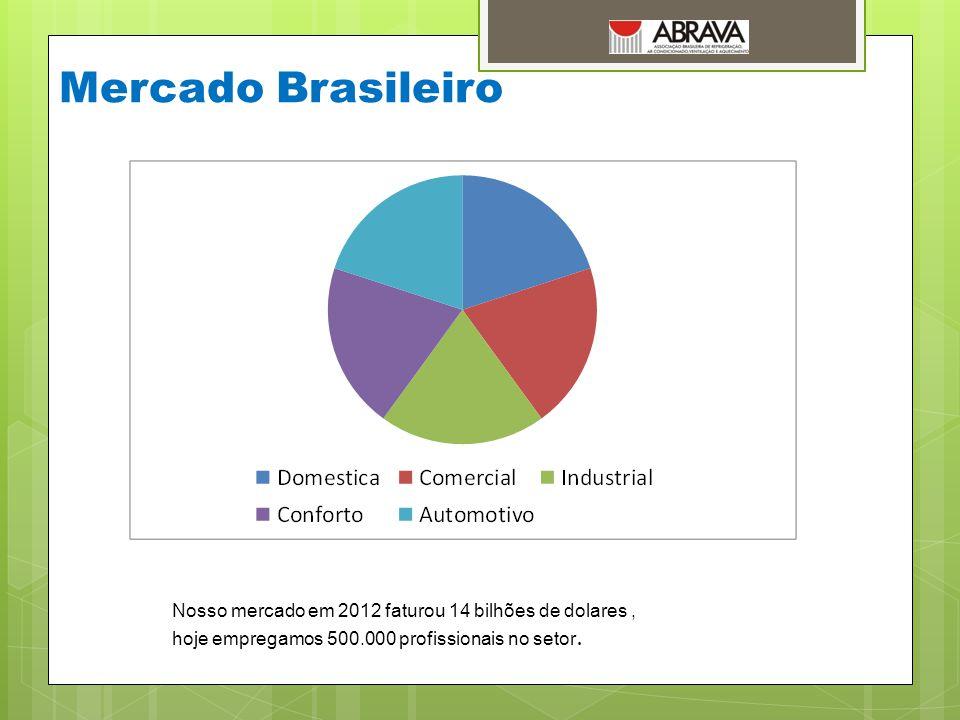 Mercado Brasileiro Nosso mercado em 2012 faturou 14 bilhões de dolares , hoje empregamos 500.000 profissionais no setor.