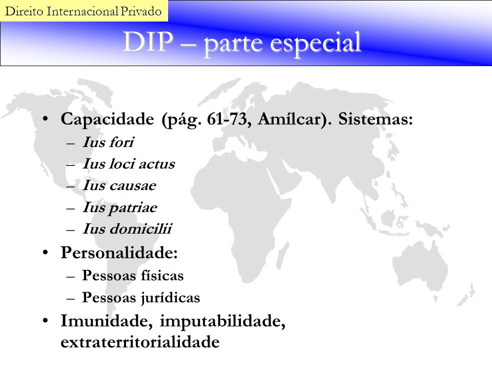 DIP – parte especial Capacidade (pág. 61-73, Amílcar). Sistemas: