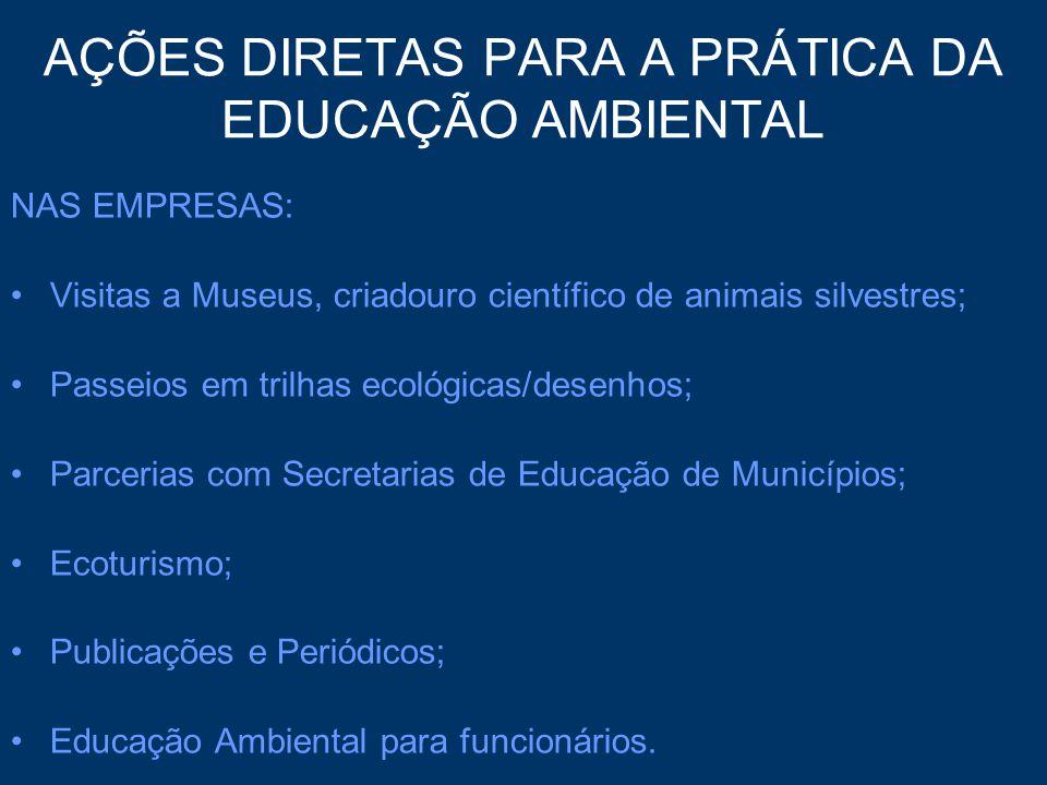 AÇÕES DIRETAS PARA A PRÁTICA DA EDUCAÇÃO AMBIENTAL