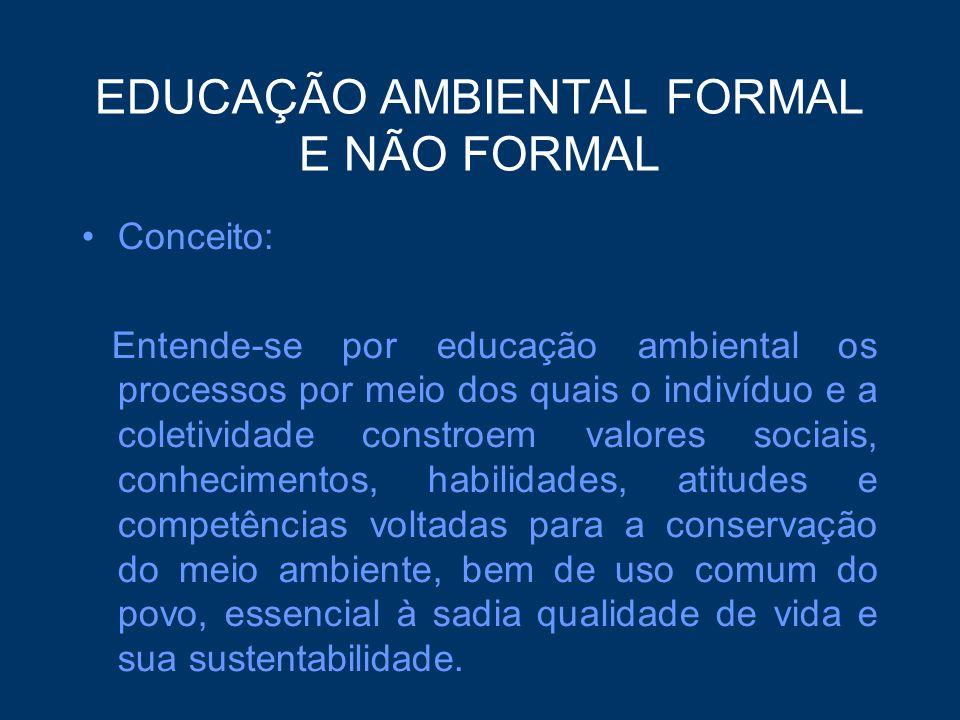 EDUCAÇÃO AMBIENTAL FORMAL E NÃO FORMAL