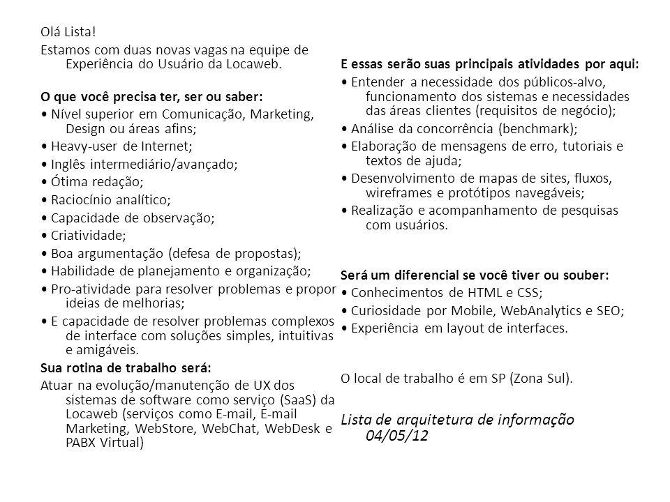 Lista de arquitetura de informação 04/05/12