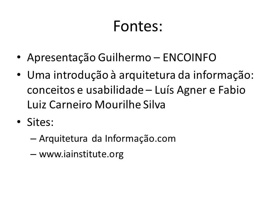 Fontes: Apresentação Guilhermo – ENCOINFO