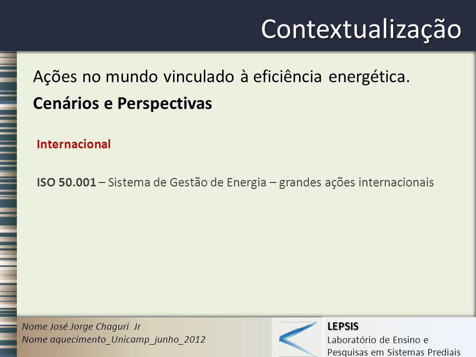 Contextualização Ações no mundo vinculado à eficiência energética.