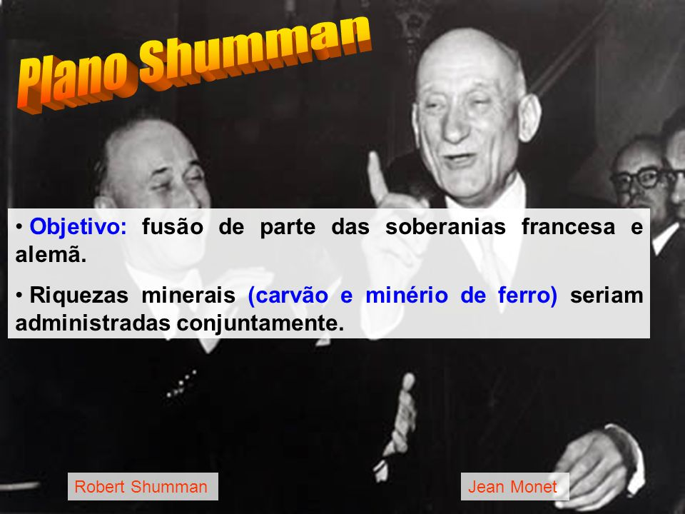 Plano Shumman Objetivo: fusão de parte das soberanias francesa e alemã.