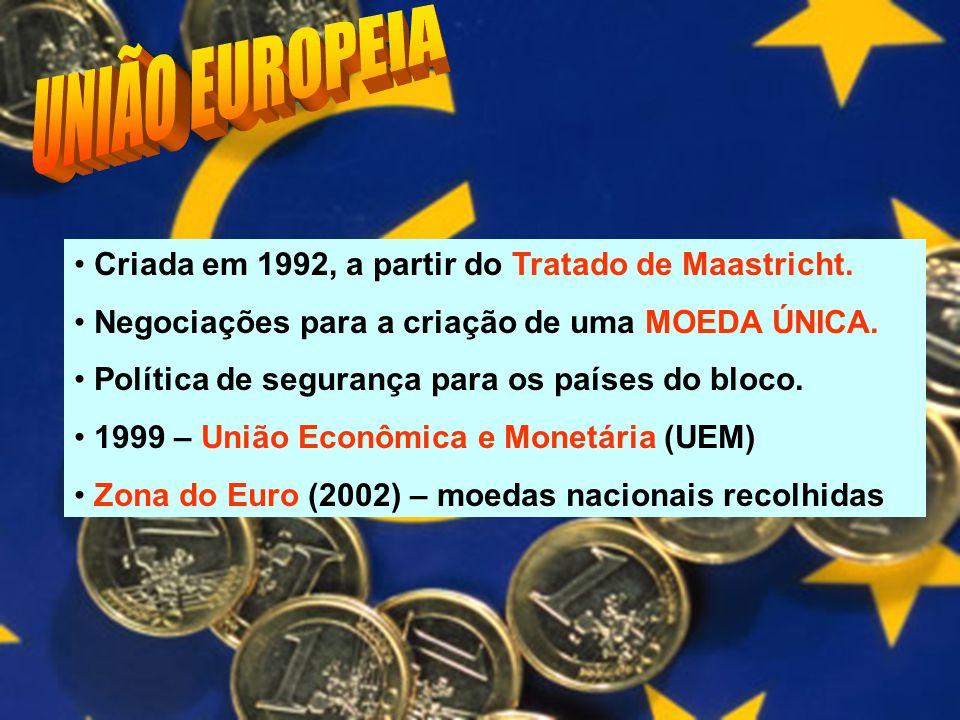 UNIÃO EUROPEIA Criada em 1992, a partir do Tratado de Maastricht.
