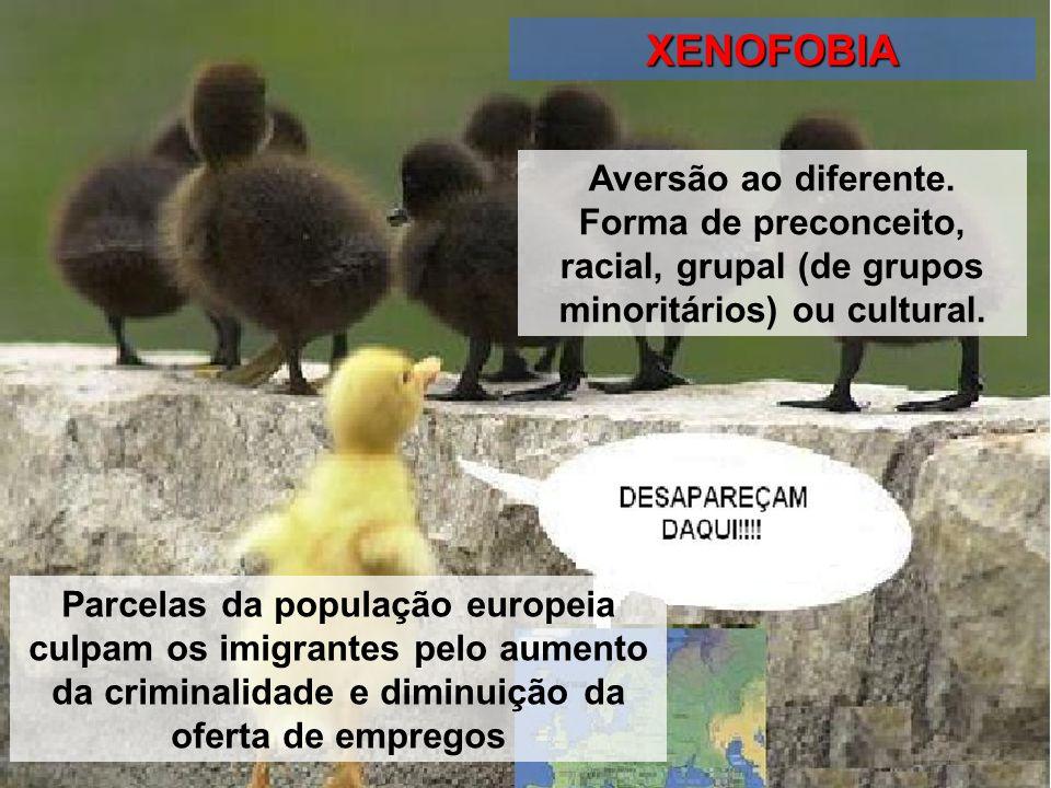 XENOFOBIA Aversão ao diferente. Forma de preconceito, racial, grupal (de grupos minoritários) ou cultural.