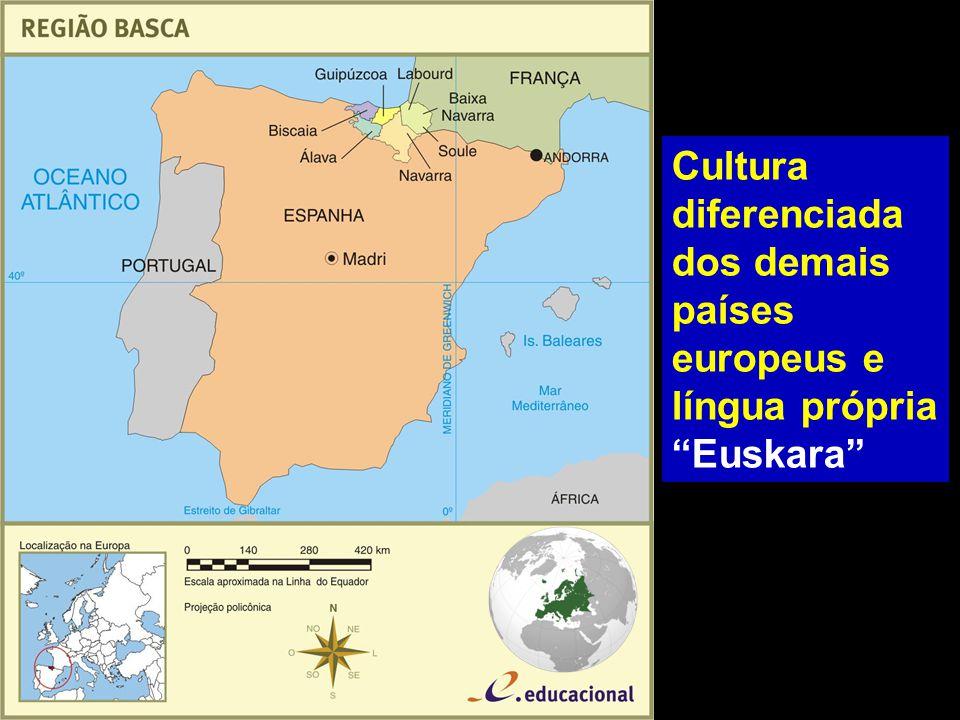 Cultura diferenciada dos demais países europeus e língua própria Euskara