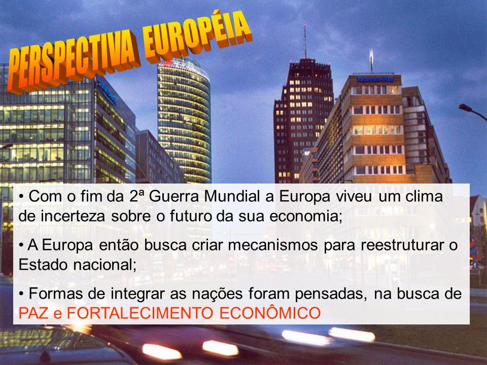 PERSPECTIVA EUROPÉIA Com o fim da 2ª Guerra Mundial a Europa viveu um clima de incerteza sobre o futuro da sua economia;