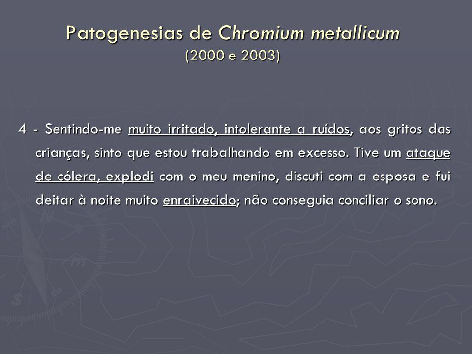 Patogenesias de Chromium metallicum (2000 e 2003)