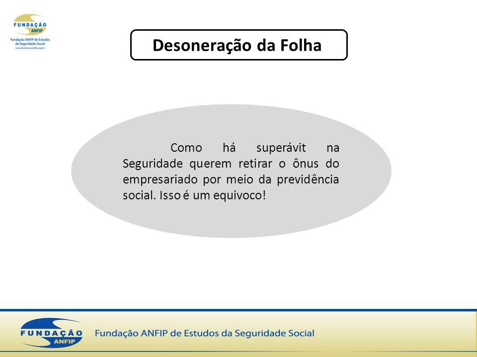 Desoneração da Folha Como há superávit na Seguridade querem retirar o ônus do empresariado por meio da previdência social.
