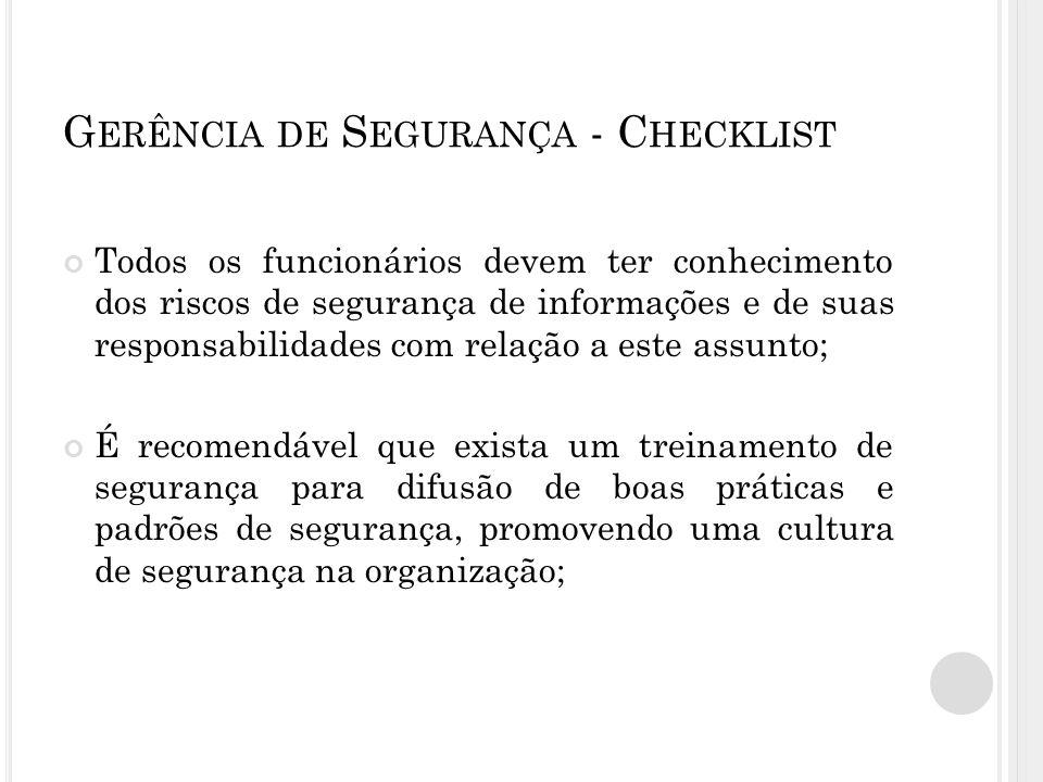 Gerência de Segurança - Checklist