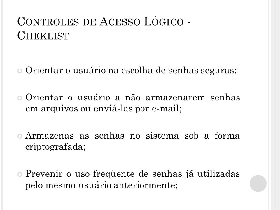 Controles de Acesso Lógico - Cheklist