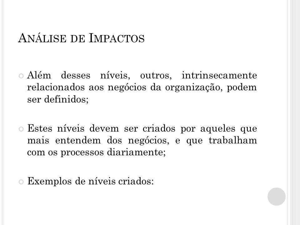 Análise de Impactos Além desses níveis, outros, intrinsecamente relacionados aos negócios da organização, podem ser definidos;