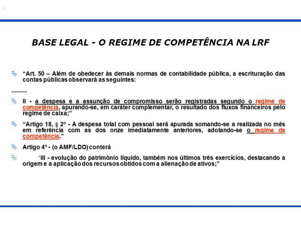 BASE LEGAL - O REGIME DE COMPETÊNCIA NA LRF