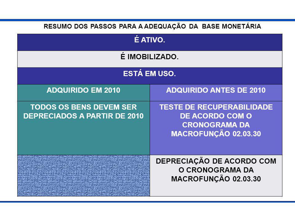 TODOS OS BENS DEVEM SER DEPRECIADOS A PARTIR DE 2010