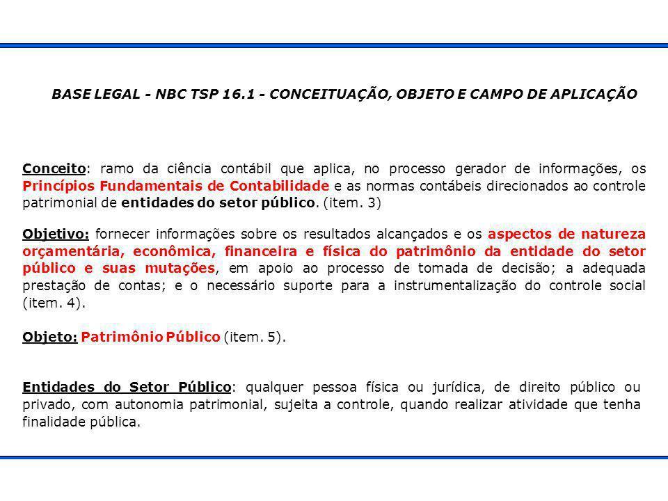 BASE LEGAL - NBC TSP 16.1 - CONCEITUAÇÃO, OBJETO E CAMPO DE APLICAÇÃO