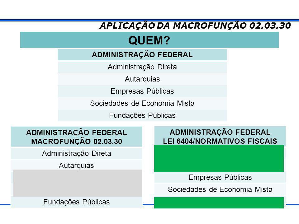 QUEM APLICAÇÃO DA MACROFUNÇÃO 02.03.30 ADMINISTRAÇÃO FEDERAL