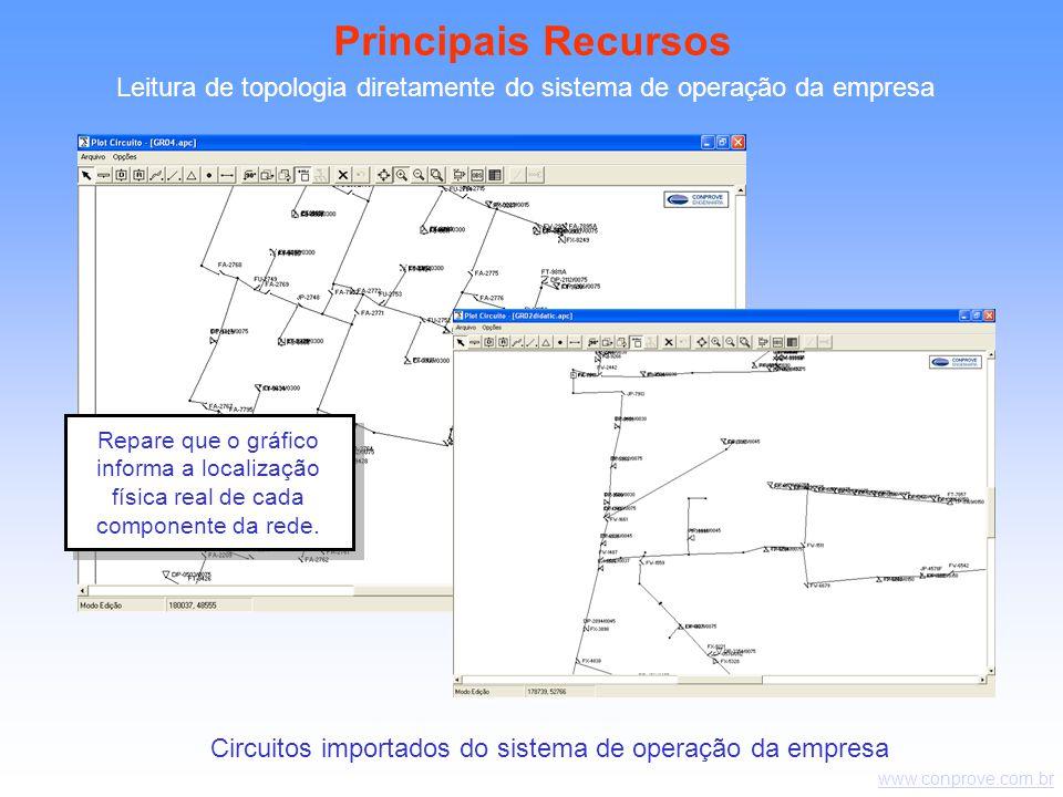 Principais Recursos Leitura de topologia diretamente do sistema de operação da empresa.